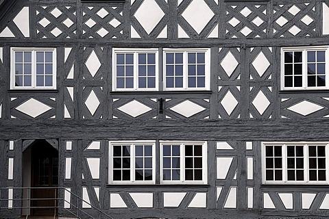 Old half-timbered facade from the 17th century, Kirchstrasse 9, Ettenheim, Baden-Wuerttemberg, Germany, Europe