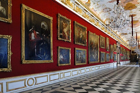 Grosse Galerie, grand gallery, New Schleissheim Palace, 1719 - 1726, Max-Emanuel-Platz square 1, Oberschleissheim, Bavaria, Germany, Europe