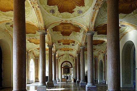 Vestibule with Tuscan columns, 1723, New Schleissheim Palace, 1719 - 1726, Max-Emanuel-Platz square 1, Oberschleissheim, Bavaria, Germany, Europe