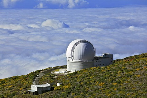 Mountain Roque de los Muchachos, view from the top over the clouds, William Herschel Telescope, observatory Observatorio del Roque de los Muchachos, ORM, of the European Northern Observatory, volcanic island of La Palma, La Isla Verde, La Isla Bonita, Can