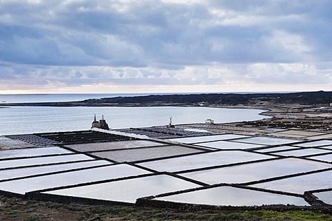 Salt extraction, saline, Salinas de Janubio, Lanzarote, Canary Islands, Spain, Europe