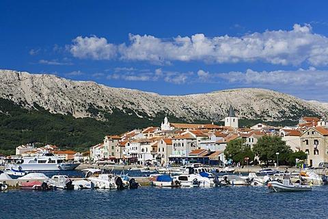 Boats in the port of Baska, Krk island, Kvarner Gulf, Croatia, Europe