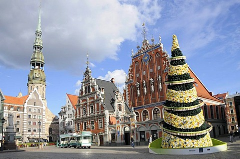 Blackheads House, St. Peter's Church, Town Hall Square, Riga, historic town centre, Latvia, Baltic States, Northern Europe