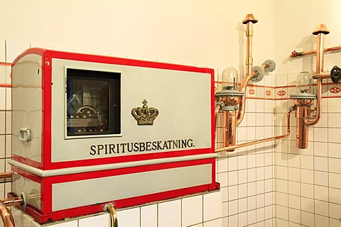 Measuring device for determining percentage of alcohol, Aalborg Akvavit spirits factory, Aalborg, North Jutland, Denmark, Europe