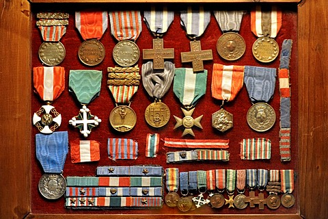 Pietro Rivas's medals and awards exhibited in the Museum of the National Memorial to King Vittorio Emanuele II, Vittoriano or Altare della Patria, Rome, Lazio, Italy, Europe