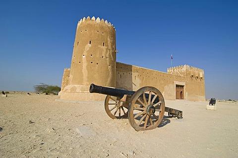 Cannon in front of Al Zubara Fort, Qatar, Arabian Peninsula, Middle East