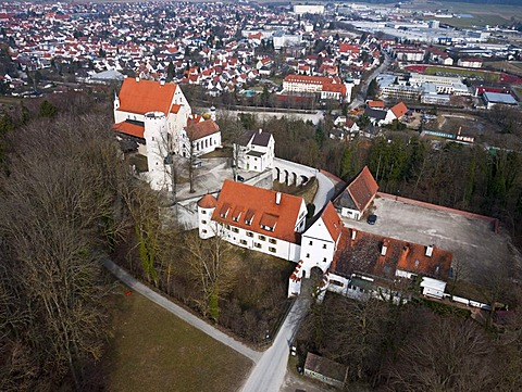 Aerial view, Mindelburg Castle, Mindelheim, Swabia, Bavaria, Germany, Europe