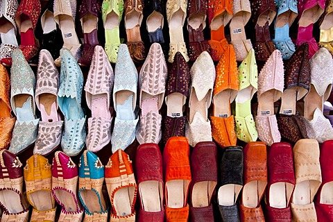 Traditional Moroccan leather slippers in the souq, market, in the Medina, historic district, Marrakech, Morocco, Africa