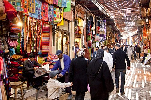 Shops in the souq, market, in the Medina, historic district, Marrakech, Morocco, Africa