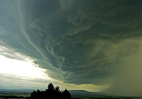 Clouds of a Thunderstorm, Stormy wind clouds over the Peissenberg hill, PŠhl, Bavaria, Germany, BRD, Europe, - 832-87