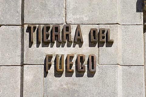"""Lettering """"Tierra del Fuego"""", Punta Arenas, Patagonia, Chile, South America"""
