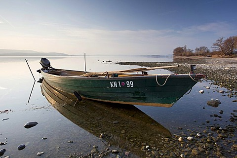 Fishing boat on Lake Constance at the island of Reichenau, Baden-Wuerttemberg, Germany, Europe