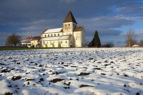 Church of St. George in winter, Reichenau island, Lake Constance, Baden-Wuerttemberg, Germany, Europe