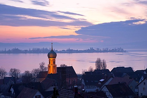 View of Allensbach and Reichenau island in the evening light with a frozen Lake Constance, Baden-Wuerttemberg, Germany, Europe