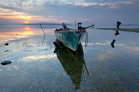 Fishing boat in the evening light, Reichenau island, Lake Constance, Baden-Wuerttemberg, Germany, Europe