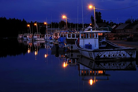 Night shot, boats in the harbour of North Rustico, Prince Edward Island, Canada, North America