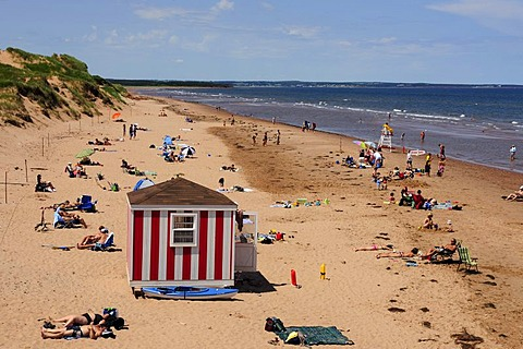 Red and white changing cabin on the beach on the Atlantic, Prince Edward Island National Park, Prince Edward Island, Canada, North America