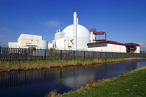 Brokdorf Nuclear Power Plant, Brokdorf, Wilstermarsch, Steinburg, Elbmarschen marshland, Schleswig-Holstein, Germany, Europe