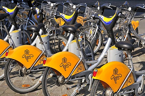 Villo rental bikes at the Midi train station, Brussels, Belgium, Europe