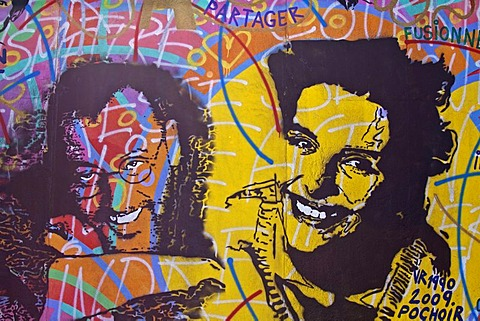 Jean Reno and Juliette Binoche, French actors, painting, mural, Berlin Wall, East Side Gallery, Berlin, Germany, Europe