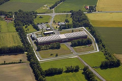 Aerial view, temporary atomic storage facility, Ahaus, Muensterland region, North Rhine-Westphalia, Germany, Europe
