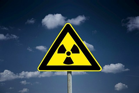 Sign with a radioactivity symbol, nuclear power