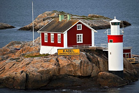 Lighthouse and keeper's house in Aelvfjord, Gothenburg, Sweden, Europe