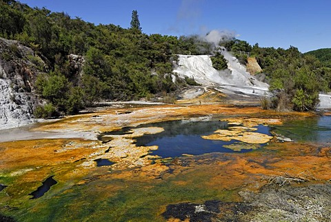 Rainbow and Cascade Terrace, Map of Africa, Orakei Korako Cave and Thermal Park, Hidden Valley, Taupo, Rotorua, North Island, New Zealand