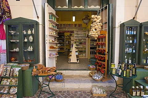 Souvenir shop in the historic district of Chania, Crete, Greece, Europe