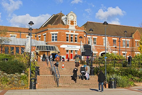 Basingstoke railway station from Alencon Link, Basingstoke, Hampshire, England, United Kingdom, Europe