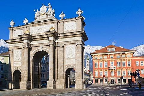 Triumphal Arch, Triumphpforte, Maria Theresien Strasse, Innsbruck, Tyrol, Austria, Europe