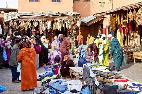 Clothing market in the souk, in the Medina, historic district in Marrakech, Morocco, Africa