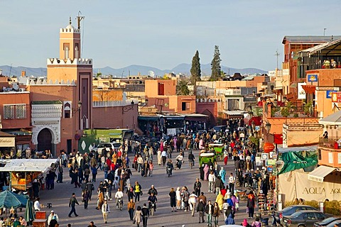 People in Djemaa El Fna square, medina or old town, UNESCO World Heritage Site, Marrakech, Morocco, Africa