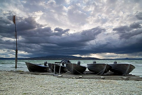 Fishing boats, Reichenau island, Lake Constance, Baden-Wuerttemberg, Germany, Europe