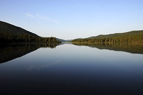 Lake in the Gaspesie National Park in the middle of the Chic-Choc Mountains, also known as Shick Shocks, Gaspe Peninsula, Gaspesie, Quebec, Canada
