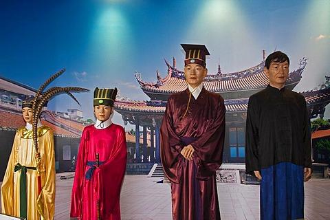 Figures in the Confucius Temple in Taipei, Taiwan, Asia