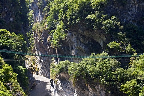 Suspension bridge in Taroko Gorge National Park near Hualien, Taiwan, China, Asia
