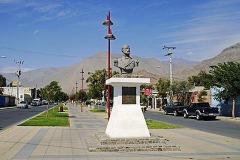 Streets, monument, Arturo Prat Chacon, war hero, captain, Vicuna, Valle d'Elqui, Elqui Valley, La Serena, Norte Chico, northern Chile, Chile, South America