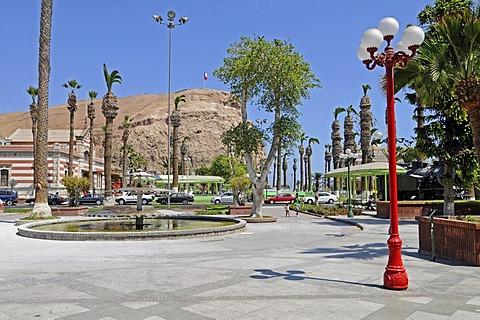 City view, Plaza Colon square, El Morro, mountains, landmark, Arica, Norte Grande, northern Chile, Chile, South America
