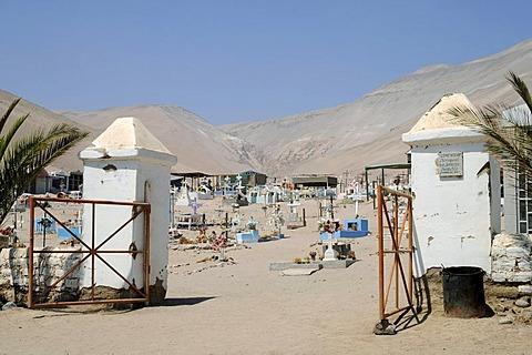 Entrance, cemetery, San Jeronimo, church, Poconchile village, Atacama Desert, Arica, Norte Grande, northern Chile, Chile, South America