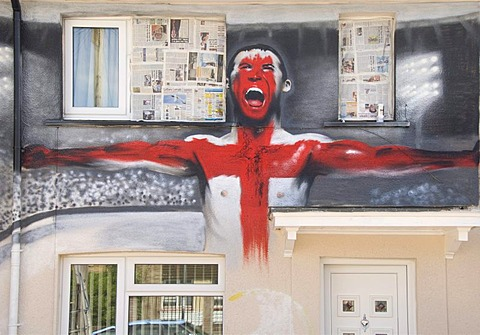 Football World Cup, decoration, painted house wall, football player with flag, Bristol, England, United Kingdom, Europe - 832-98553