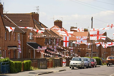 Football World Cup, decorated houses and street, flags, Bristol, England, United Kingdom, Europe