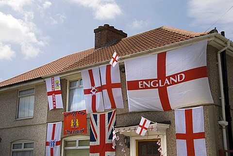 Football World Cup, decorated house, flags, Bristol, England, United Kingdom, Europe