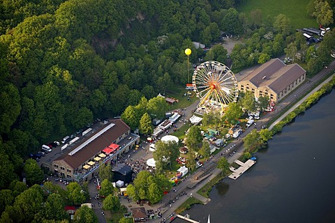 Aerial view, Vereinigte Gibraltar mine on the Kemnader reservoir with a Ferris wheel, Schachtzeichen RUHR.2010 art installation, Bochum, Ruhrgebiet region, North Rhine-Westphalia, Germany, Europe