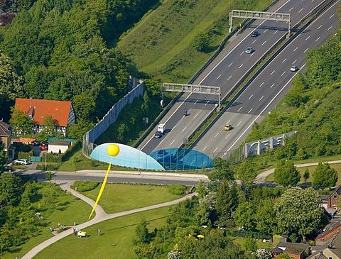 Aerial view, mine Graf Bismarck 3, 5, A2 motorway cover, Schachtzeichen RUHR.2010 art installation, Gelsenkirchen, Ruhrgebiet region, North Rhine-Westphalia, Germany, Europe