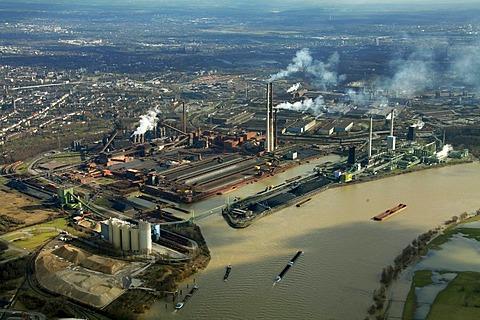 Aerial view, construction site, bulk ships, unloading of coal, ThyssenKrupp Steel, port Walsum, Duisburg, Ruhrgebiet region, North Rhine-Westphalia, Germany, Europe