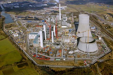 Aerial view, RWE-coal power plant in Hamm Uentrop, Schmehausen, Ruhrgebiet region, North Rhine-Westphalia, Germany, Europe