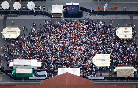 Aerial picture, public screening, Football World Cup 2010, the match Germany vs Australia 4-0, Bottrop, Ruhr district, North Rhine-Westphalia, Germany, Europe