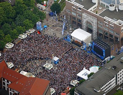 Aerial picture, public screening, Football World Cup 2010, the match Germany vs Australia 4-0, Friedensplatz square, Dortmund, Ruhr district, North Rhine-Westphalia, Germany, Europe