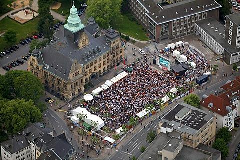 Aerial view, public screening, Football World Cup 2010, the match Germany vs Australia 4-0, Rathausvorplatz square, Recklinghausen, Ruhr Area, North Rhine-Westphalia, Germany, Europe